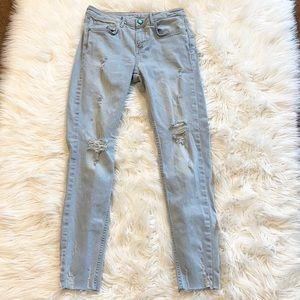 Zara Blue Button Distressed Skinny Jeans Size 4